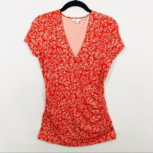 Boden Wrap Top in Orange & Light Taupe w/Side Ruching - Size 10 - EUC